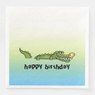 Alligator de joyeux anniversaire serviettes en papier