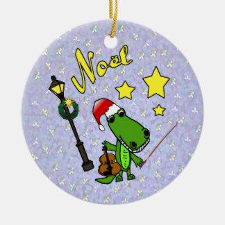 Alligator de Père Noël avec l'ornement de violon Ornement Rond En Céramique