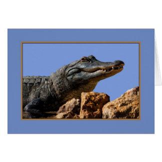 Alligator de sourire, carte d'anniversaire, humour