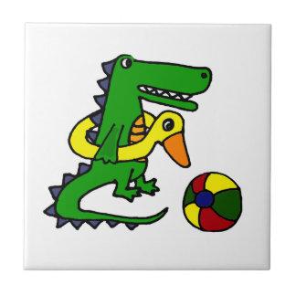 Alligator drôle à la bande dessinée de plage carreau