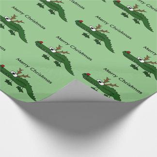 Alligator drôle de Noël comme renne Papier Cadeau