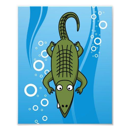 Alligator mignon de bande dessinée avec l'arrière  tirage photo