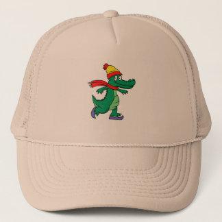 Alligator patinant avec le casquette et l'écharpe