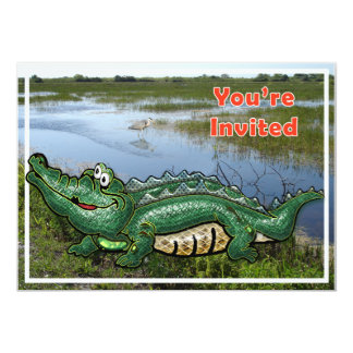 Alligator vert de bande dans l'invitation de