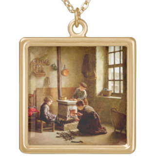 Allumant le fourneau, 1886 (huile sur le panneau) pendentif carré