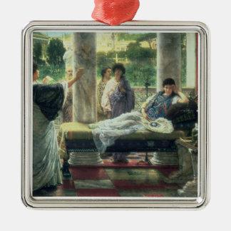 Alma-Tadema | Catullus lisant ses poèmes Ornement Carré Argenté