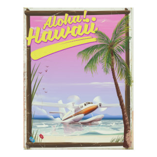 Aloha ! Affiche vintage de voyage de style d'Hawaï Poster