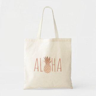 aloha ananas rose tropical hawaïen d'or sac