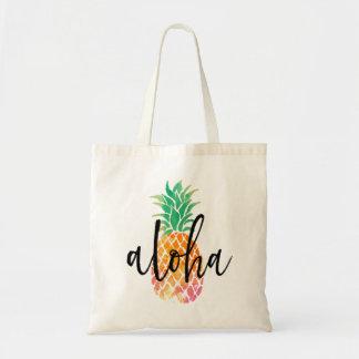 aloha ananas tropical d'aquarelle marqué avec des sacs