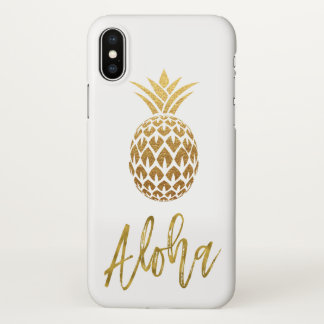 Aloha blanc tropical et feuille d'or d'ananas coque iPhone x