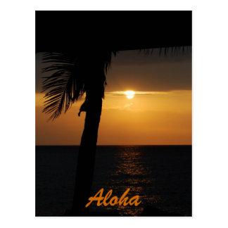 Aloha cartes hawaïennes de coucher du soleil