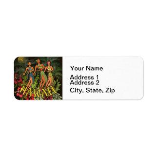 Aloha copie d'art de danse de danse polynésienne étiquettes d'adresse retour