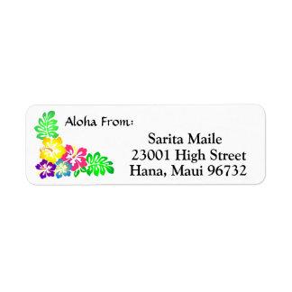Aloha de la ketmie tropicale étiquette d'adresse retour
