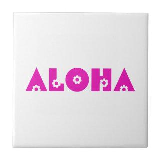 Aloha en fleurs roses petit carreau carré
