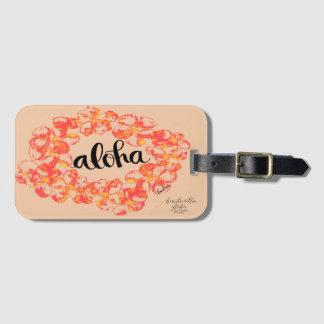 Aloha étiquette de bagage de Plumeria - orange Étiquettes Bagages