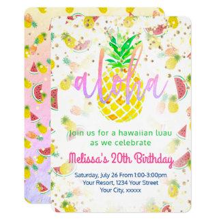 aloha fête d'anniversaire tropicale carton d'invitation  12,7 cm x 17,78 cm