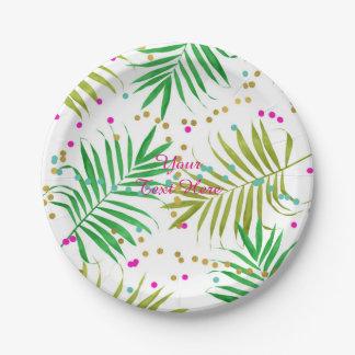 Aloha fête d'anniversaire tropicale de feuille de assiettes en papier