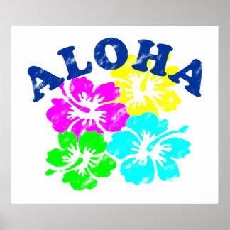 Aloha fleurs hawaïennes colorées de poster vintage