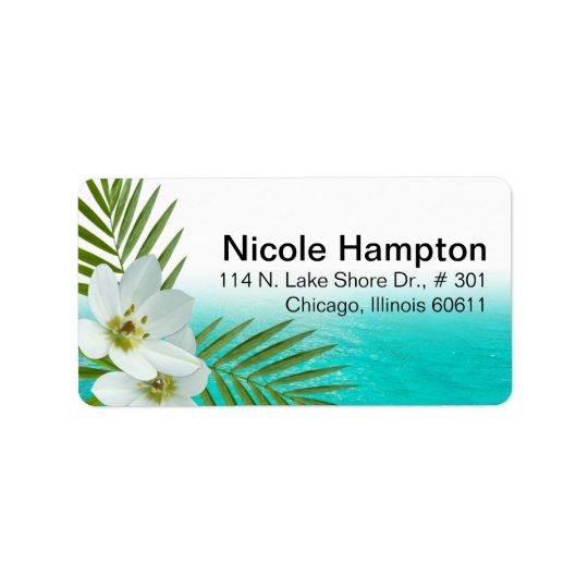 Aloha fleurs tropicales de plage étiquettes d'adresse