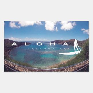 Aloha Hawaï se tiennent barbotante Sticker Rectangulaire