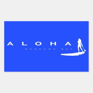 Aloha Hawaï se tiennent barbotante Autocollant En Rectangle