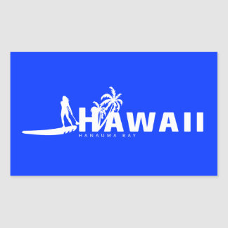 Aloha Hawaï se tiennent barbotante Sticker Rectangulaire