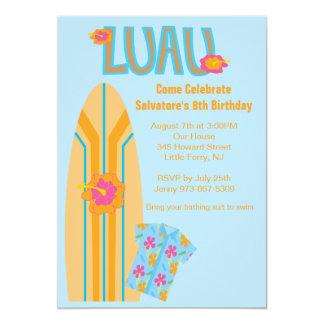 Aloha invitation d'anniversaire de panneau de surf