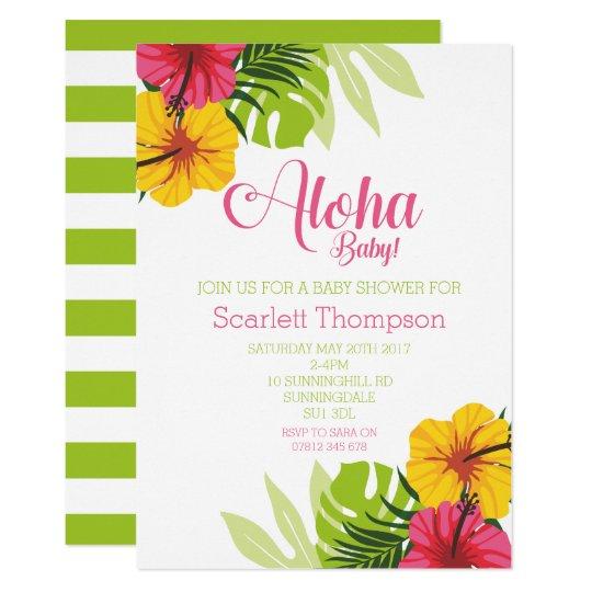 Aloha invitation tropicale de baby shower