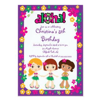 Aloha invitations mignonnes de fête d'anniversaire