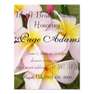 Aloha le Frangipani hawaïen fleurit douche Carton D'invitation 10,79 Cm X 13,97 Cm