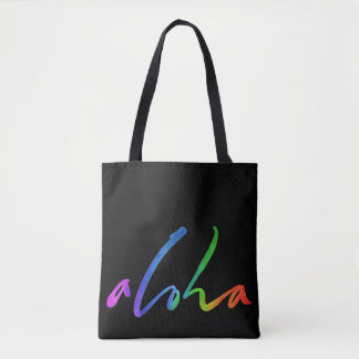 Aloha - lettrage tropical - Hawaï noire Hawai'i Tote Bag