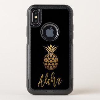 Aloha noir tropical et feuille d'or d'ananas