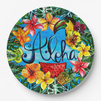 Aloha - nourriture tropicale de fleur et assiettes en papier