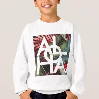 Aloha paume de rouge de carré blanc sweatshirt