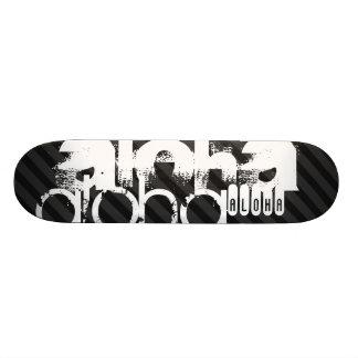Aloha ; Rayures noires et gris-foncé Skateboards Personnalisés