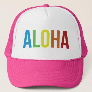 Aloha rose d'arc-en-ciel casquette trucker