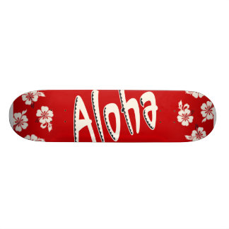 Aloha rouge hawaïen skateboard old school  21,6 cm