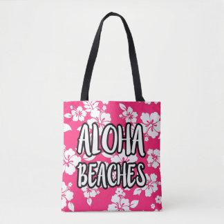 Aloha sac fourre-tout rose à ketmie de plages