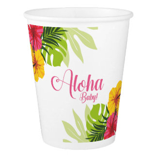 Aloha tasses de papier tropicales de baby shower gobelets en papier