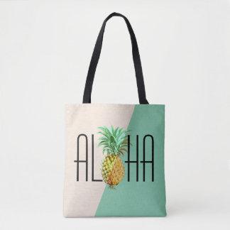 Aloha texte avec le dos géométrique tropical tote bag