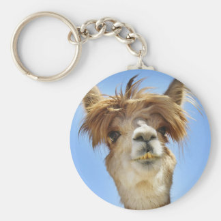 Alpaga avec les cheveux fous porte-clé rond