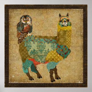 Alpaga d or et affiche d art de hibou de Teal