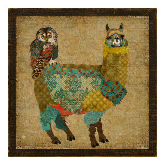 Alpaga d'or et affiche d'art de hibou de Teal