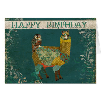 Alpaga d'or et carte d'anniversaire de hibou de Te