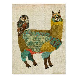 Alpaga d'or et carte postale de hibou de Teal