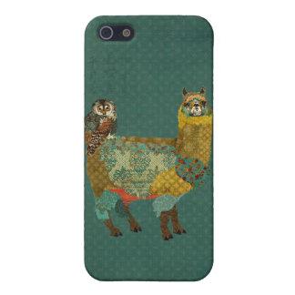 Alpaga d'or et coque iphone bleu de hibou de Teal  Étui iPhone 5