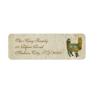 Alpaga d'or et étiquette de adresse de hibou de étiquette d'adresse retour