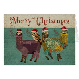 Alpaga et carte de Noël bleue de hiboux