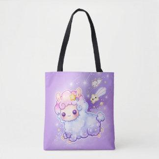 Alpaga mignon de chibi avec l'étoile filante de sac