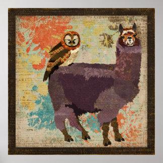 Alpaga pourpre et affiche ambre d'art de hibou